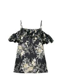 Top à épaules dénudées à fleurs noir Twin-Set