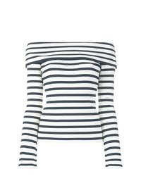 Top à épaules dénudées à rayures horizontales blanc et bleu marine P.A.R.O.S.H.