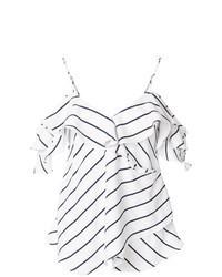 Top à épaules dénudées à rayures horizontales blanc et noir