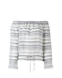 Top à épaules dénudées à rayures horizontales gris
