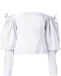 Top à épaules dénudées à rayures verticales blanc Jacquemus