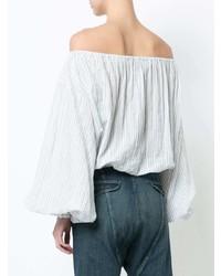 Top à épaules dénudées à rayures verticales blanc Nili Lotan