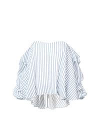 Top à épaules dénudées à rayures verticales bleu clair Caroline Constas