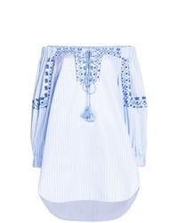 Top à épaules dénudées à rayures verticales bleu clair Ermanno Scervino