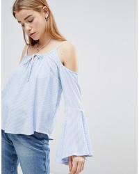 Top à épaules dénudées à rayures verticales bleu clair Hollister