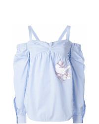 Top à épaules dénudées à rayures verticales bleu clair N°21
