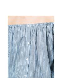 Top à épaules dénudées à rayures verticales bleu clair Nili Lotan