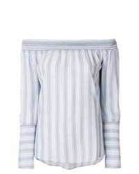 Top à épaules dénudées à rayures verticales bleu clair Steffen Schraut