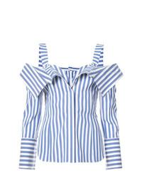 Top à épaules dénudées à rayures verticales bleu Monse