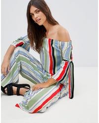 Top à épaules dénudées à rayures verticales multicolore Vila