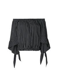 Top à épaules dénudées à rayures verticales noir Isabelle Blanche