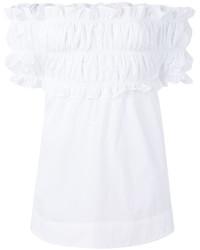 Top à épaules dénudées à volants blanc MSGM
