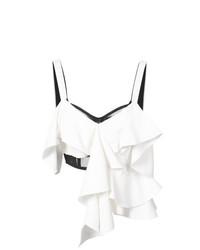 Top à épaules dénudées à volants blanc Proenza Schouler