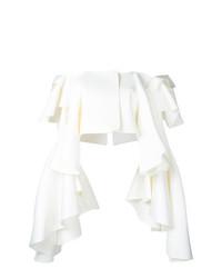 Top à épaules dénudées à volants blanc Robert Wun