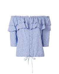 Top à épaules dénudées à volants bleu clair Zadig & Voltaire