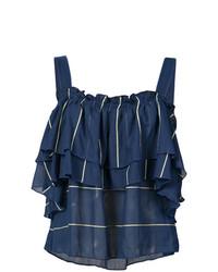 Top à épaules dénudées à volants bleu marine Lemlem