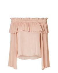 Top à épaules dénudées à volants rose Alice McCall