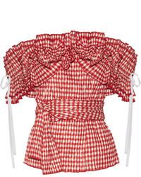 Top à épaules dénudées à volants rouge Rosie Assoulin