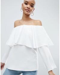 Top à épaules dénudées blanc ASOS DESIGN