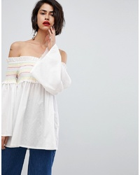 Top à épaules dénudées blanc Vero Moda