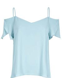 Top à épaules dénudées bleu clair