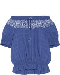 Top à épaules dénudées brodé bleu Tory Burch