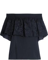 Top à épaules dénudées brodé noir
