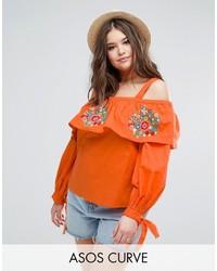 Top à épaules dénudées brodé orange Asos