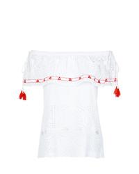 Top à épaules dénudées en broderie anglaise blanc Cecilia Prado