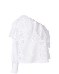 Top à épaules dénudées en broderie anglaise blanc MSGM