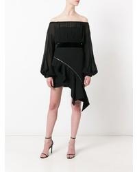 Top à épaules dénudées en chiffon noir Saint Laurent