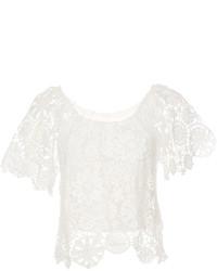Top à épaules dénudées en crochet blanc