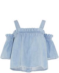 Top à épaules dénudées en denim bleu clair