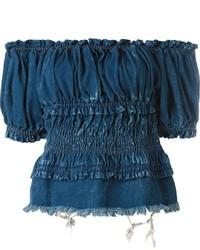 Top à épaules dénudées en denim bleu marine Chloé