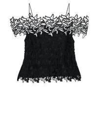 Top à épaules dénudées en dentelle à fleurs noir Topshop