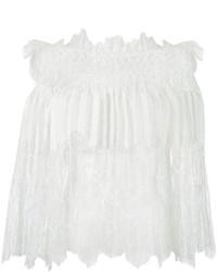 Top à épaules dénudées en dentelle blanc Ermanno Scervino