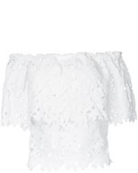 Top à épaules dénudées en dentelle blanc