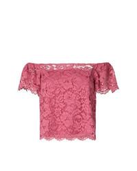 Top à épaules dénudées en dentelle fuchsia Twin-Set
