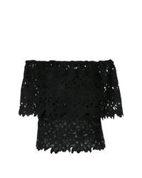 Top à épaules dénudées en dentelle noir Bambah