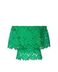 Top à épaules dénudées en dentelle vert Bambah
