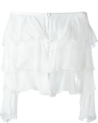 Top à épaules dénudées en soie blanc Balmain