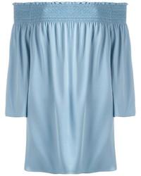 Top à épaules dénudées en soie bleu clair Theory