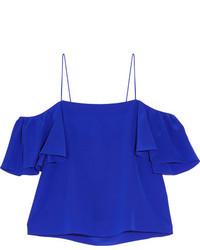 Top à épaules dénudées en soie bleu Fendi