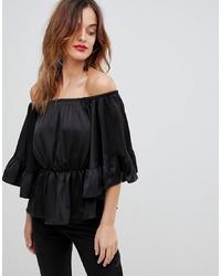 Top à épaules dénudées en soie noir Y.a.s
