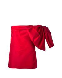Top à épaules dénudées en soie rouge Bambah