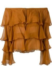 Top à épaules dénudées en soie tabac Balmain