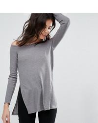 Top à épaules dénudées en tricot gris Asos