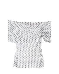 Top à épaules dénudées imprimé cachemire blanc Etro