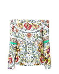 Top à épaules dénudées imprimé multicolore Etro