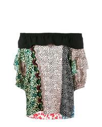 Top à épaules dénudées imprimé multicolore Sonia Rykiel
